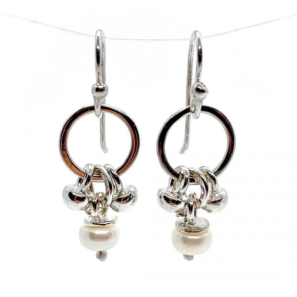 Caroline Jones dangly melted ball earrings with white pearls 01
