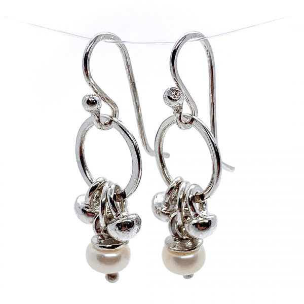 Caroline Jones dangly melted ball earrings with white pearls 02