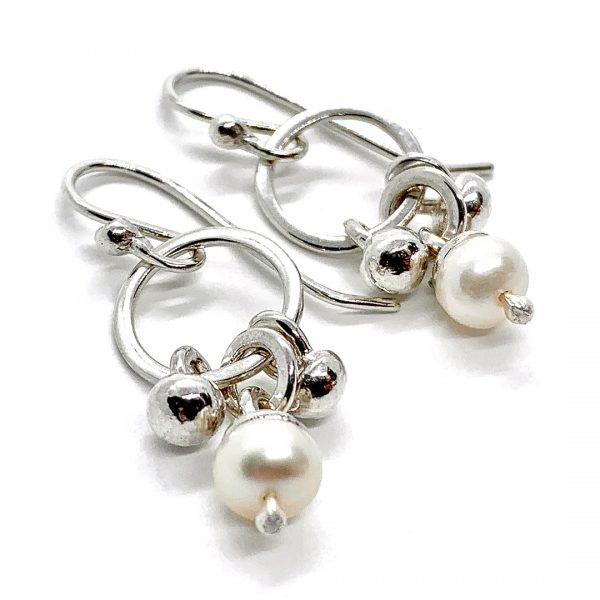 Caroline Jones dangly melted ball earrings with white pearls 03