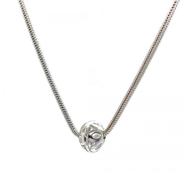 Caroline Jones flower sphere necklace on snake chain (small) 01