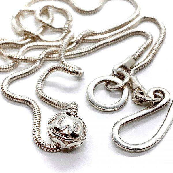 Caroline Jones flower sphere necklace on snake chain (small) 02