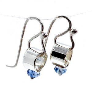 Caroline Jones silver link earrings with blue crystals 01