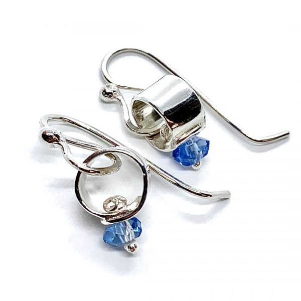 Caroline Jones silver link earrings with blue crystals 03
