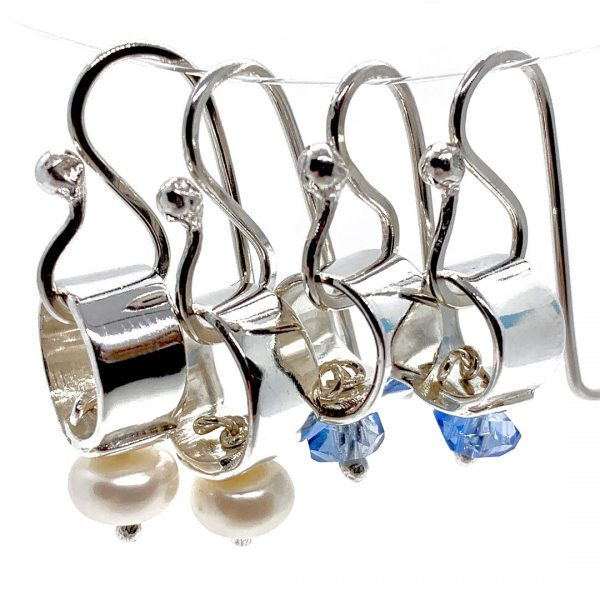 Caroline Jones silver link earrings with white pearls_blue crystals 01