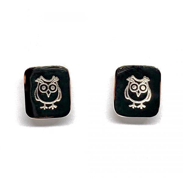 Caroline Jones stamped motif studs - owls